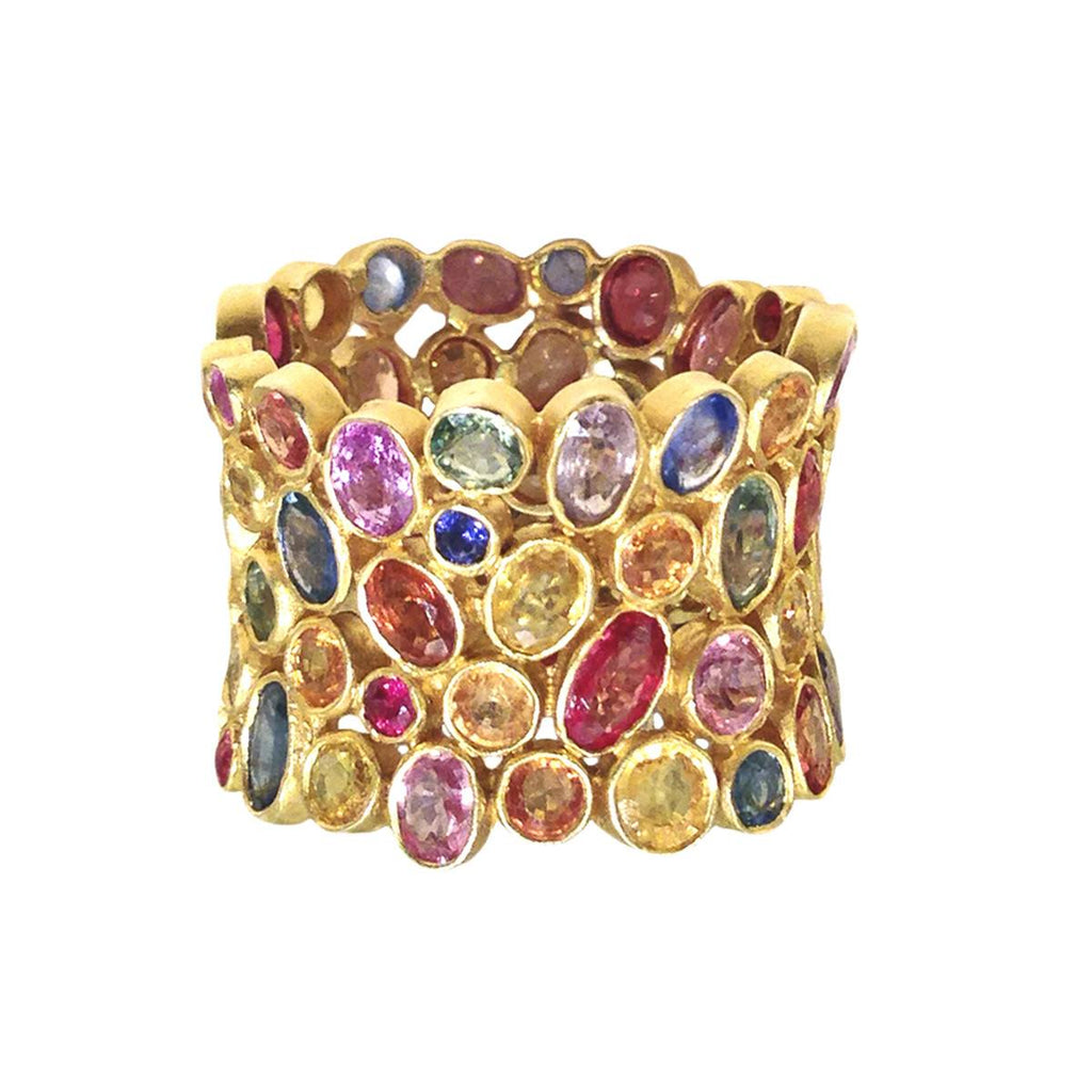 Lauren Harper Multicolored Rose-Cut Sapphire Matte Gold Celebration Ring - Szor Collections