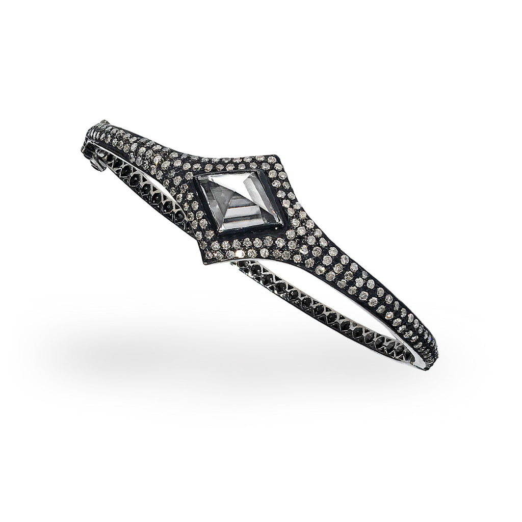 Lauren Harper Rock Crystal Prism Diamond Eternity Hinged Cuff Bracelet - Szor Collections