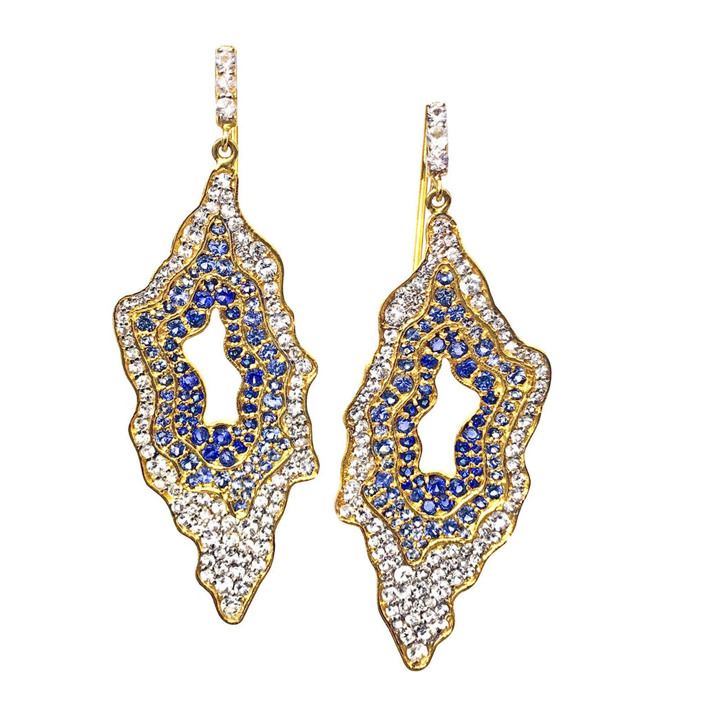 Lauren Harper - Lauren Harper White and Blue Sapphire Snow Geode Gold Earrings - Szor Collections - 1