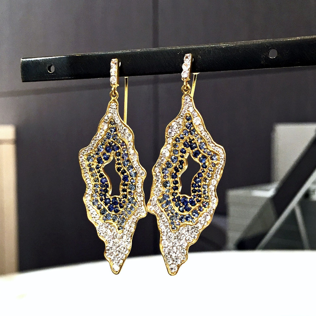 Lauren Harper - Lauren Harper White and Blue Sapphire Snow Geode Gold Earrings - Szor Collections - 2