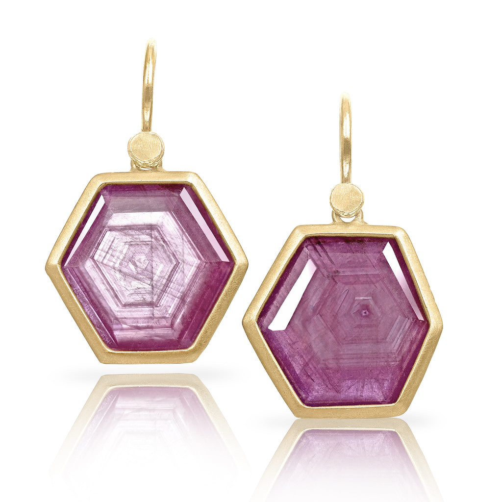 Lola Brooks Glowing Hexagonal Ruby Crystal Yellow Gold Earrings - Szor Collections