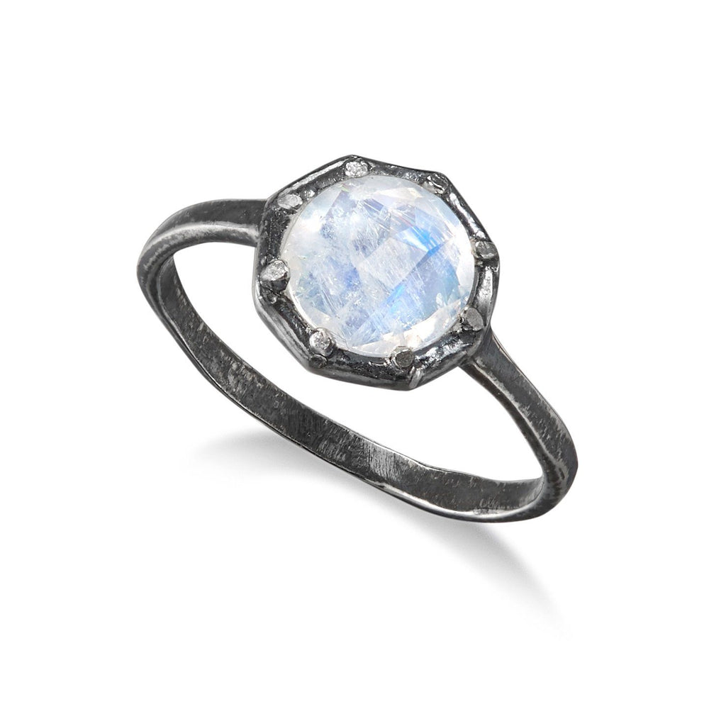 Lauren Wolf Rainbow Moonstone Large Octagon Oxidized Silver Ring - Szor Collections