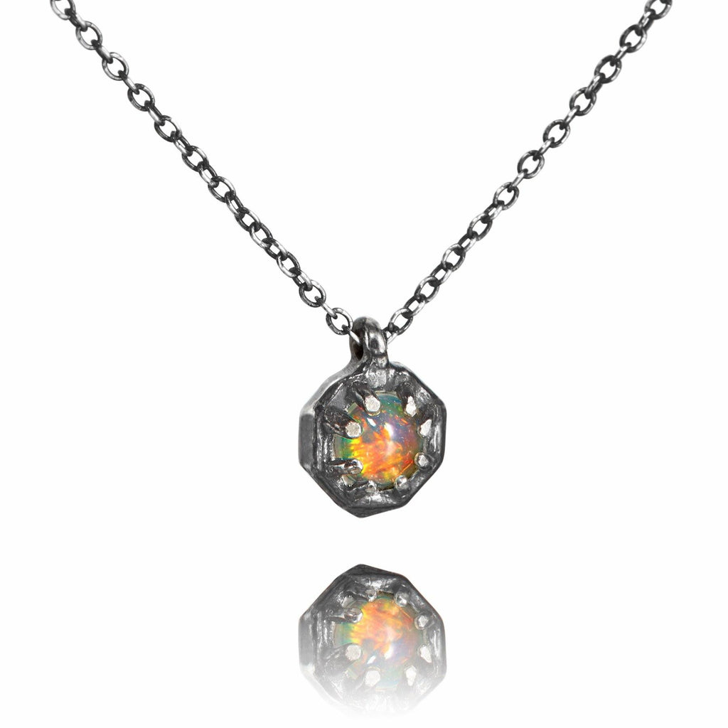 Lauren Wolf Opal Octagon Silver Necklace - Szor Collections