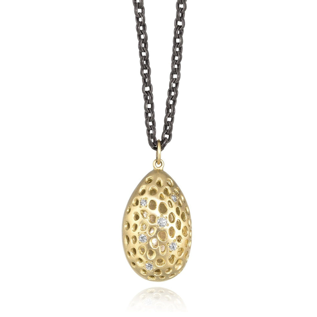 Lisa Ziff Diamond Gold Oxidized Silver Double Almond Drop Necklace - Szor Collections