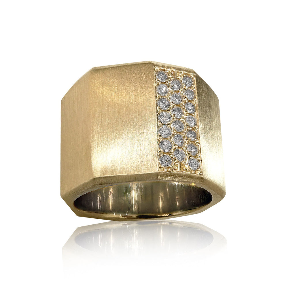 Lisa Ziff Satin Gold Diamond Handmade Facet Bolt Band Ring - Szor Collections - 1