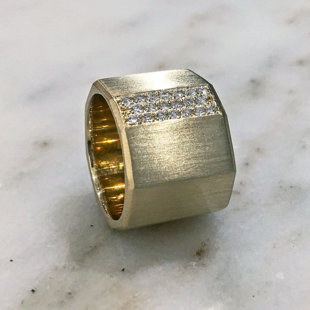 Lisa Ziff Satin Gold Diamond Handmade Facet Bolt Band Ring - Szor Collections - 2