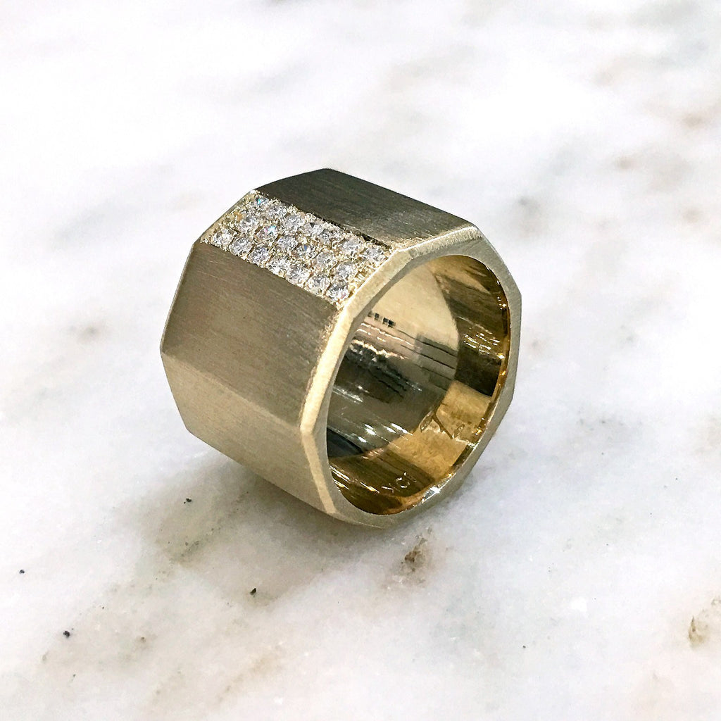 Lisa Ziff Satin Gold Diamond Handmade Facet Bolt Band Ring - Szor Collections