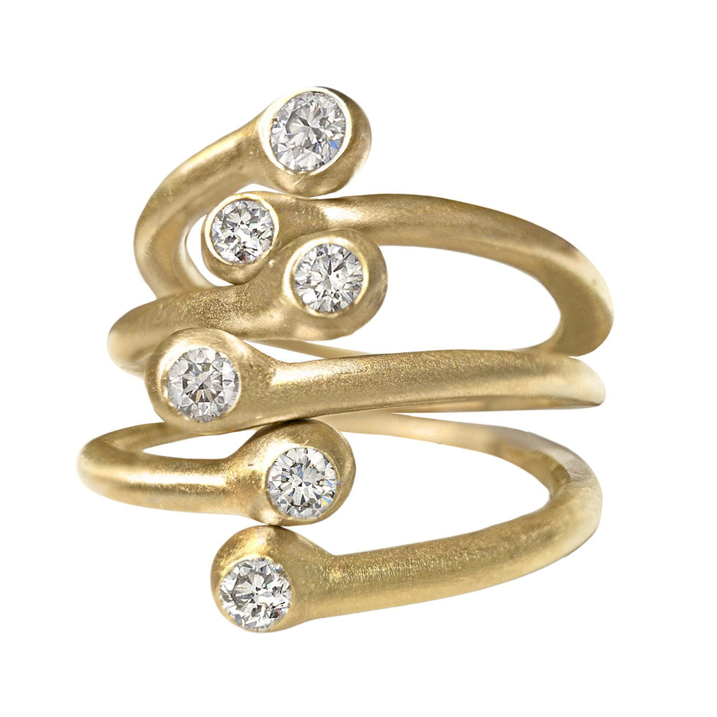 Lisa Ziff Double Diamond Matte Gold Three Open Stacking Rings - Szor Collections