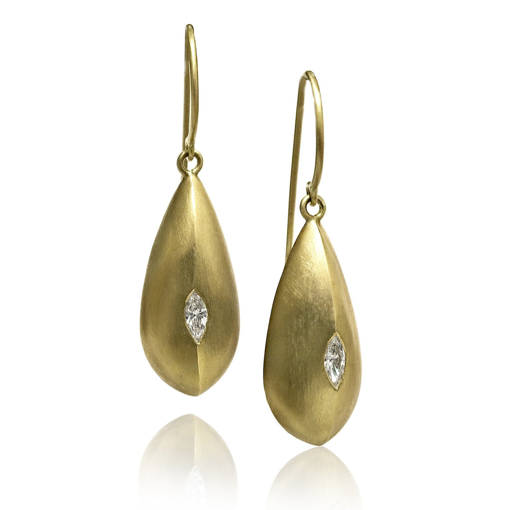 Lisa Ziff Marquise Diamond Gold Teardrop Earrings - Szor Collections - 1