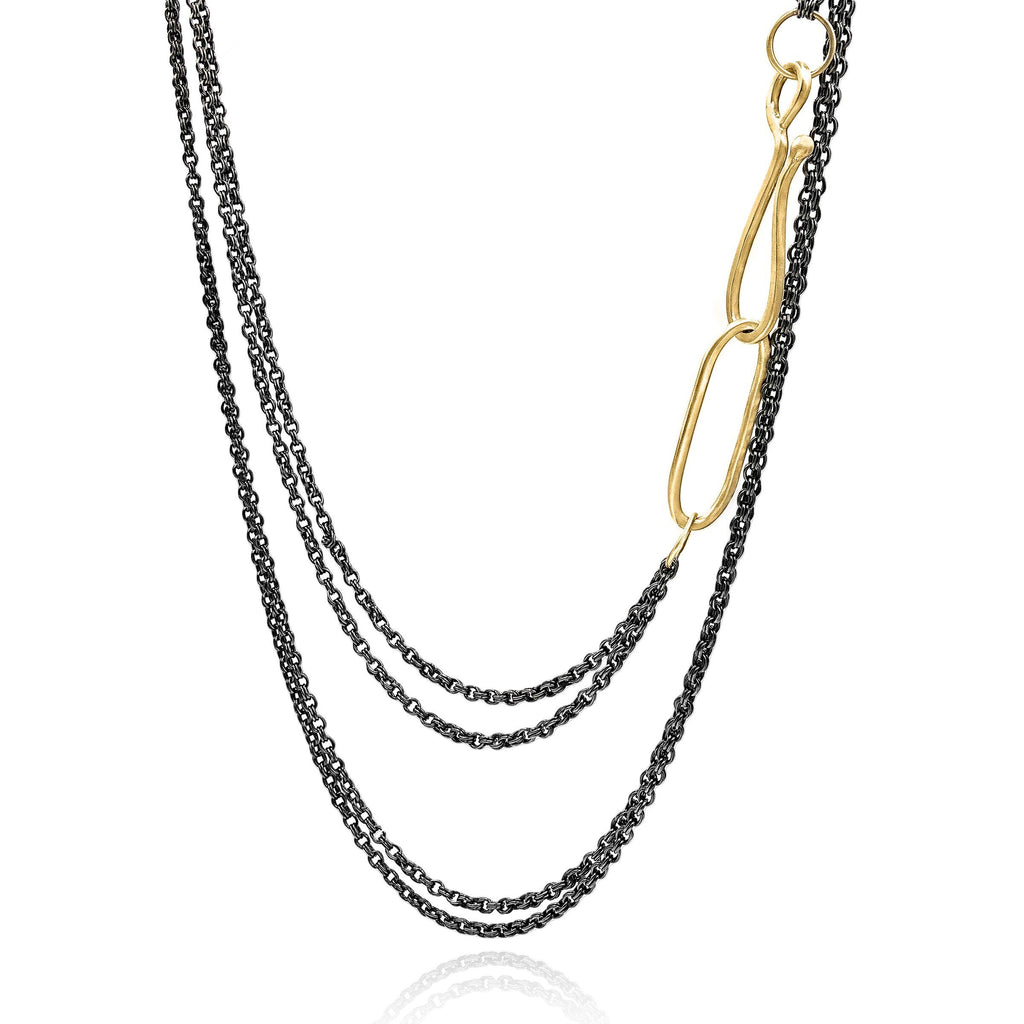 Lisa Ziff Gold Black Rhodium Silver Long Lasso Layer Chain Necklace - Szor Collections