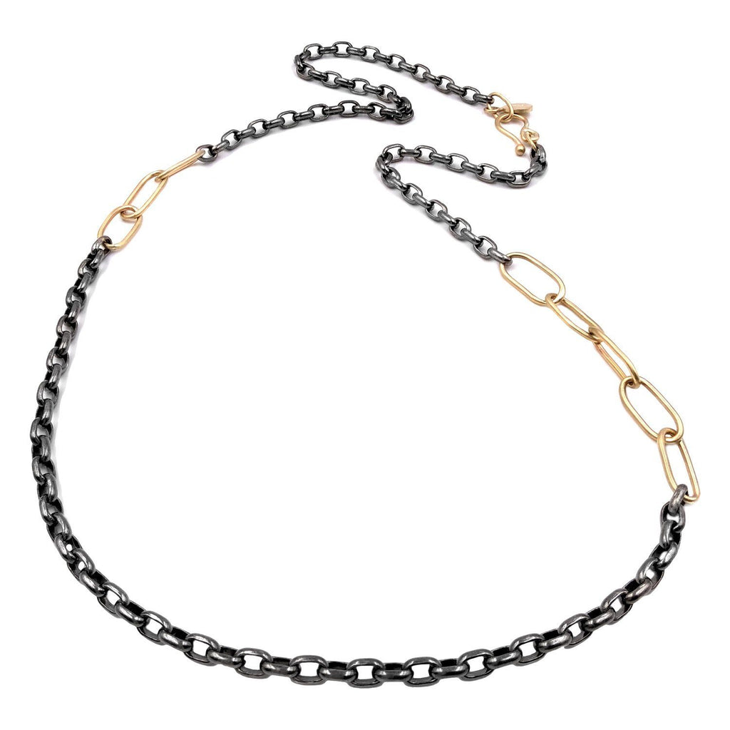 Lisa Ziff Gold Black Rhodium Silver Short Combo Link Chain Necklace - Szor Collections