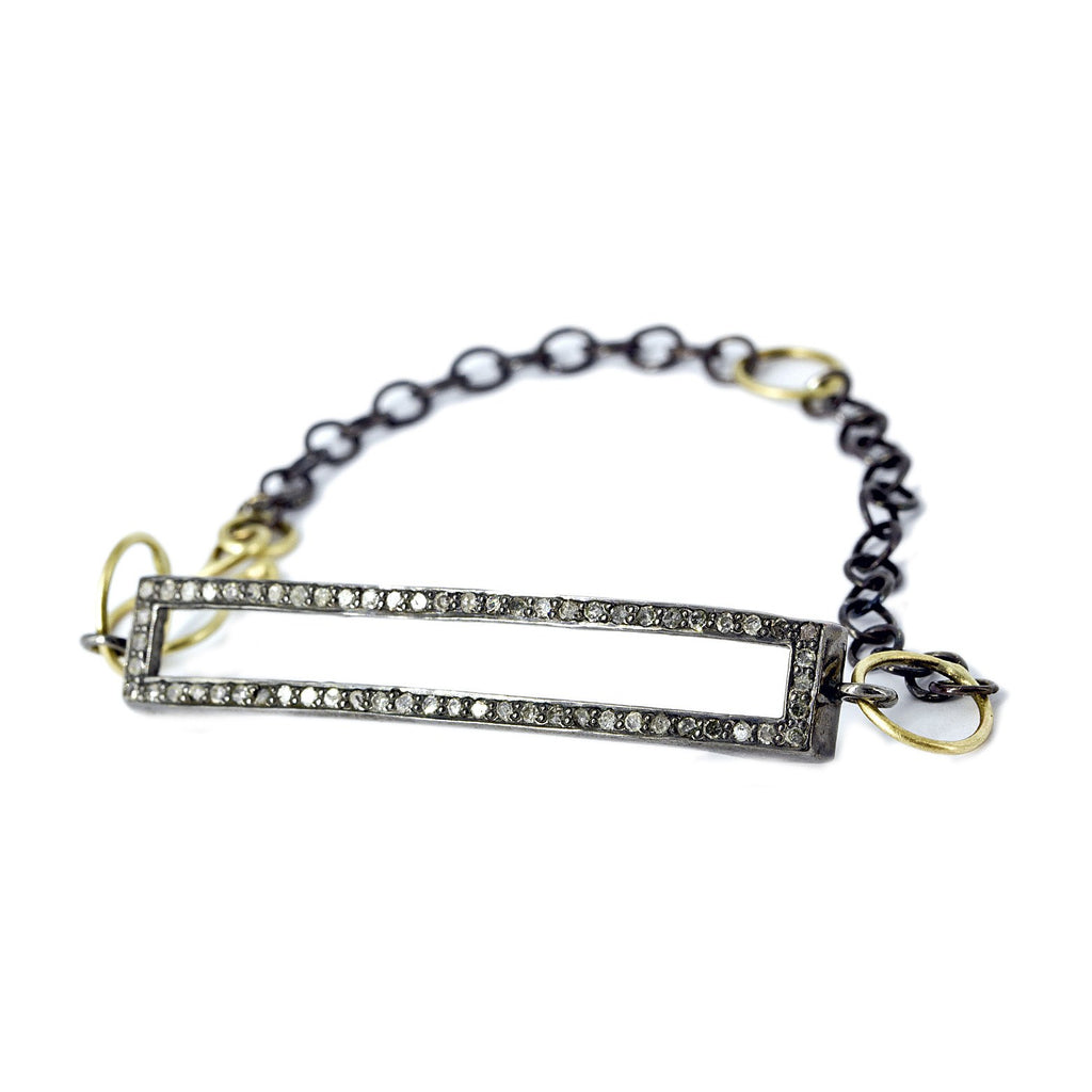 Lisa Ziff Diamond Yellow Gold Silver Open ID Bracelet - Szor Collections