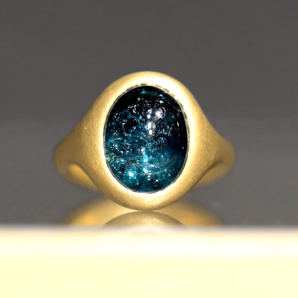 Lola Brooks 5.32 Carat Deep Blue Tourmaline Yellow Gold Ring - Szor Collections
