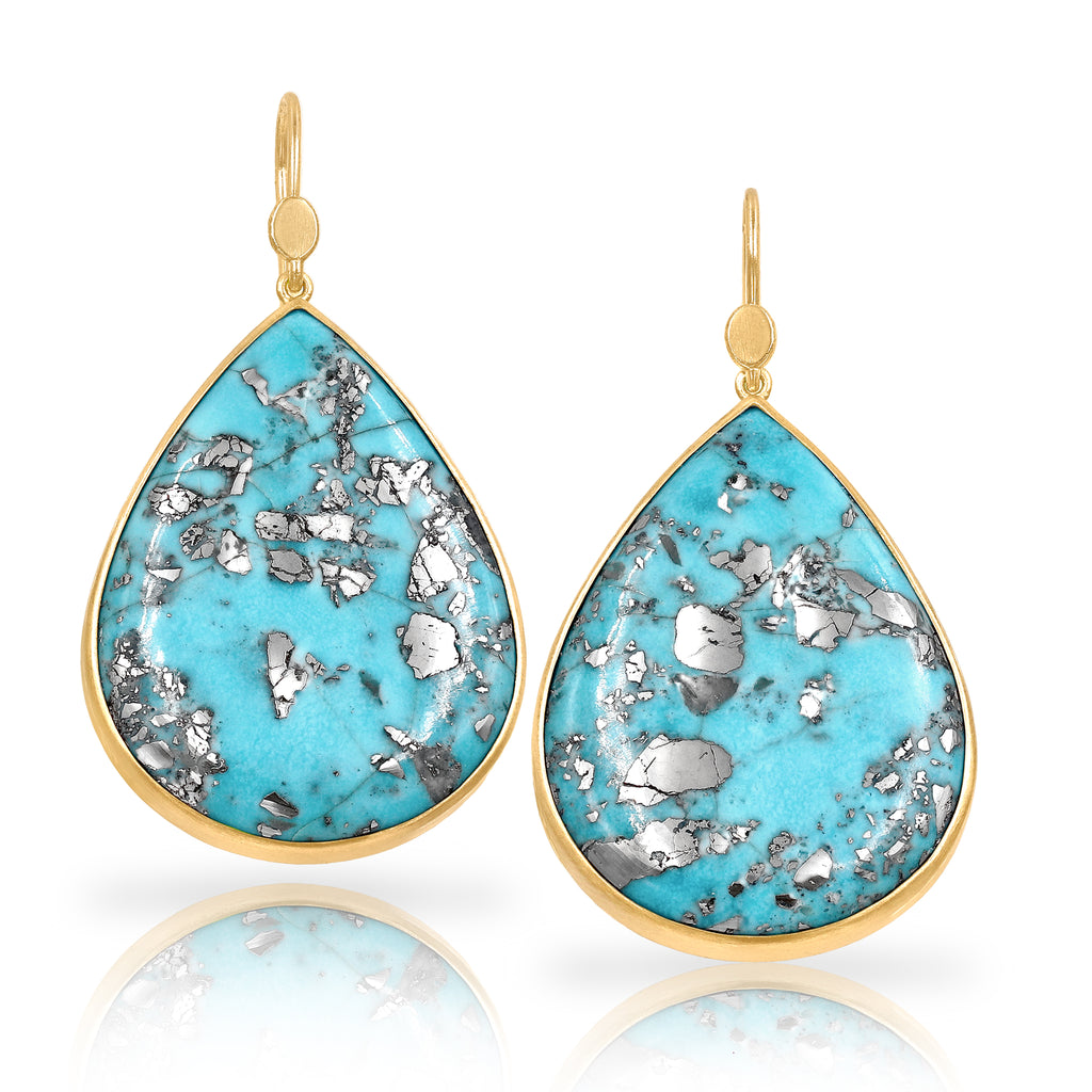 Lola Brooks Natural Turquoise with Pyrite Drop Earrings - Szor Collections