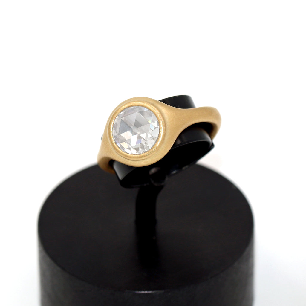 Lola Brooks 1.51 Ct Round Rose-Cut White Diamond Yellow Gold Ring - Szor Collections