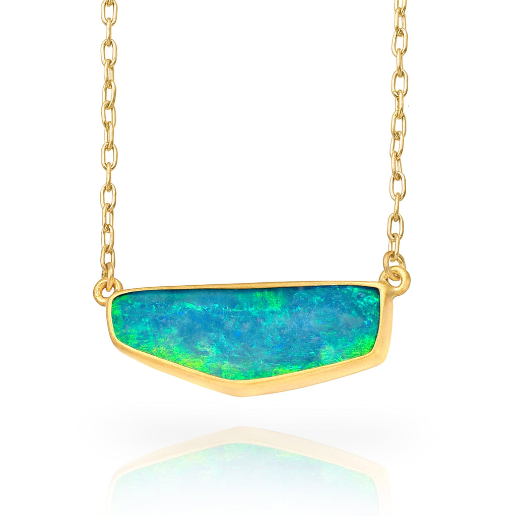 Lola Brooks Brilliant Blue Boulder Opal Yellow Gold Necklace - Szor Collections