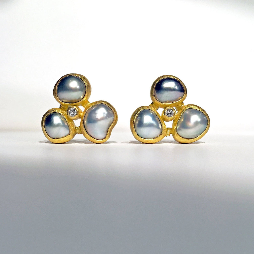 Petra Class Tahitian Pearl White Diamond Triple Stud Earrings - Szor Collections