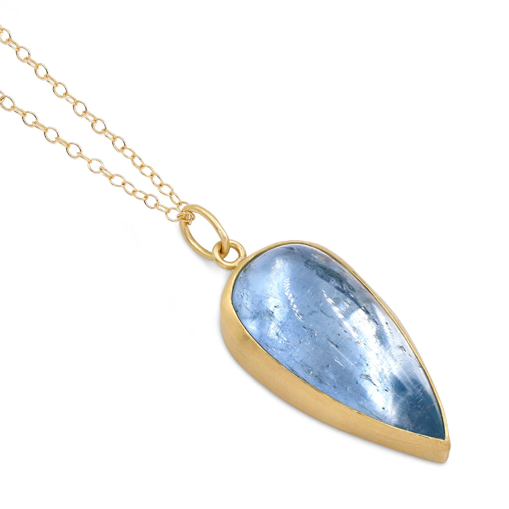 Monica Marcella Glowing Aquamarine Pear Cabochon One of a Kind Drop Necklace - Szor Collections
