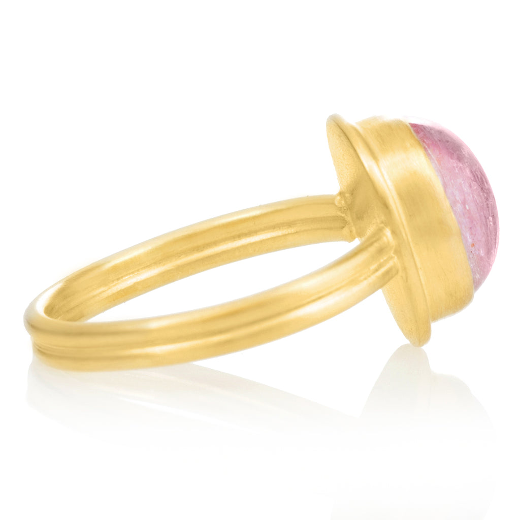 Monica Marcella Glowing Pink Topaz Oval Cabochon Ridged Gold Band Ring - Szor Collections