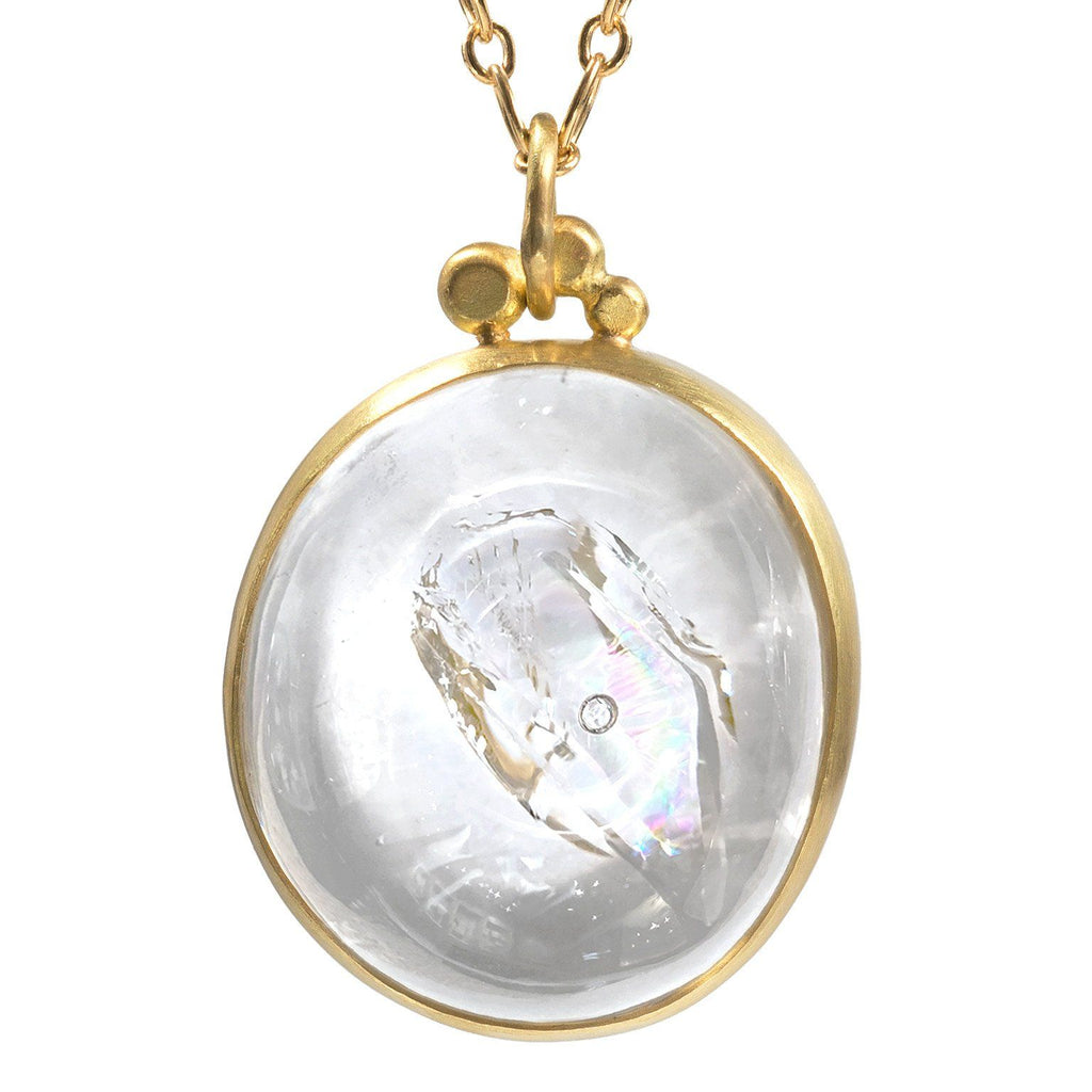 Monica Marcella Rainbow Enhydro Quartz Floating Bubble Gold Drop Necklace - Szor Collections