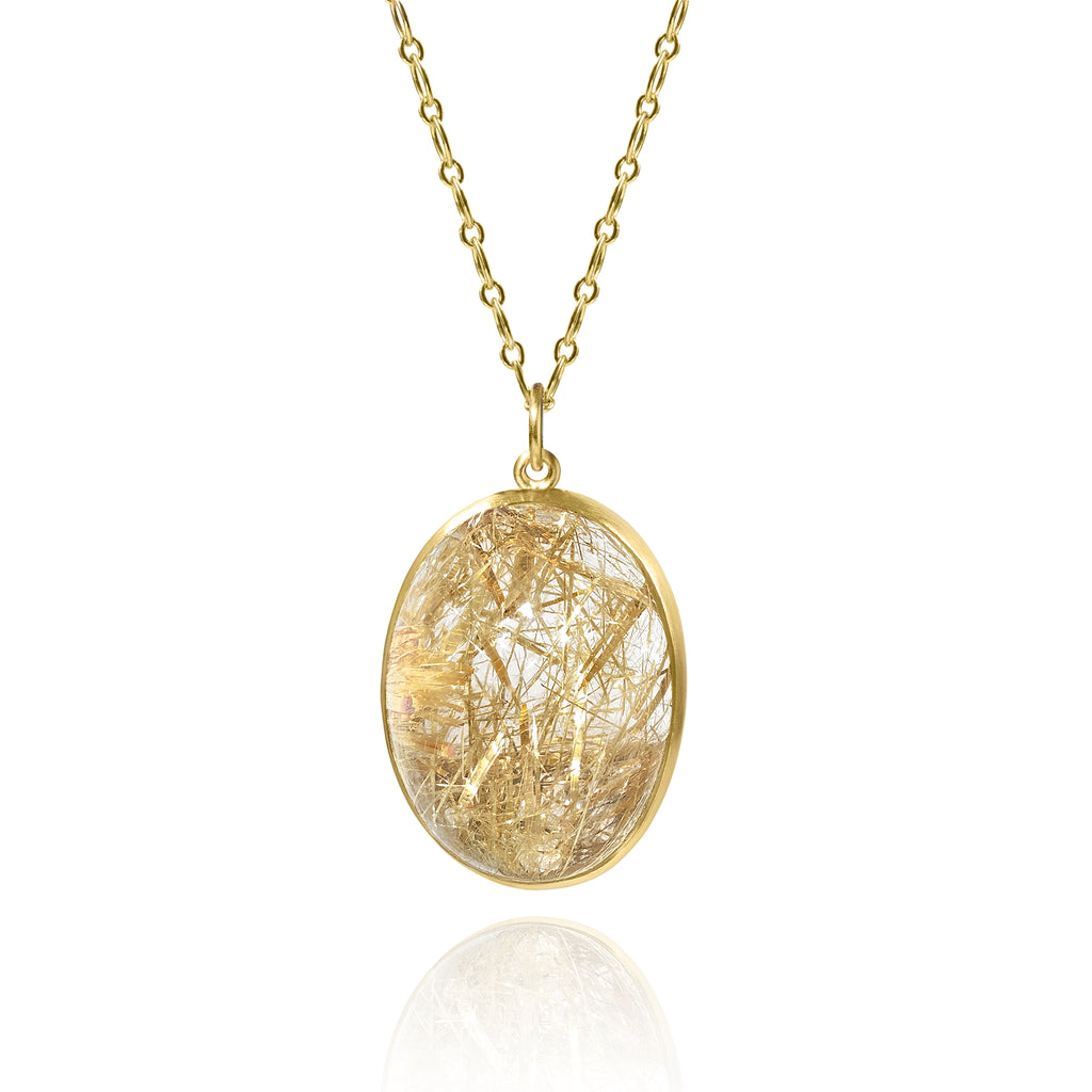 Monica Marcella Golden Rutilated Quartz Egg One of a Kind Pendant Drop Necklace - Szor Collections