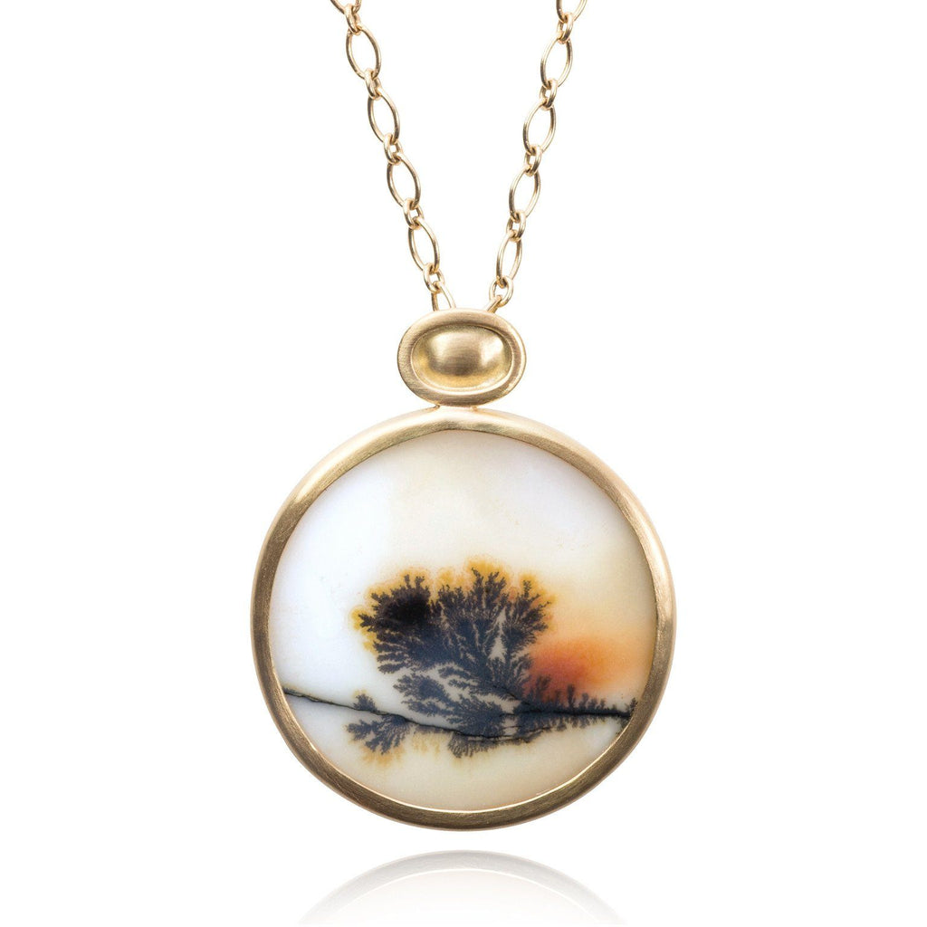 Monica Marcella Dendrite Agate Sunset Handmade Gold Drop Necklace - Szor Collections