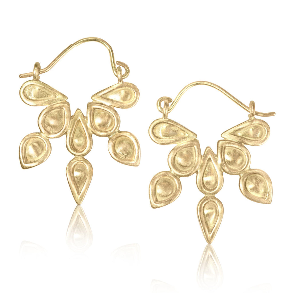 Monica Marcella Azteca Gold Hoop Earrings (Special Order) - Szor Collections