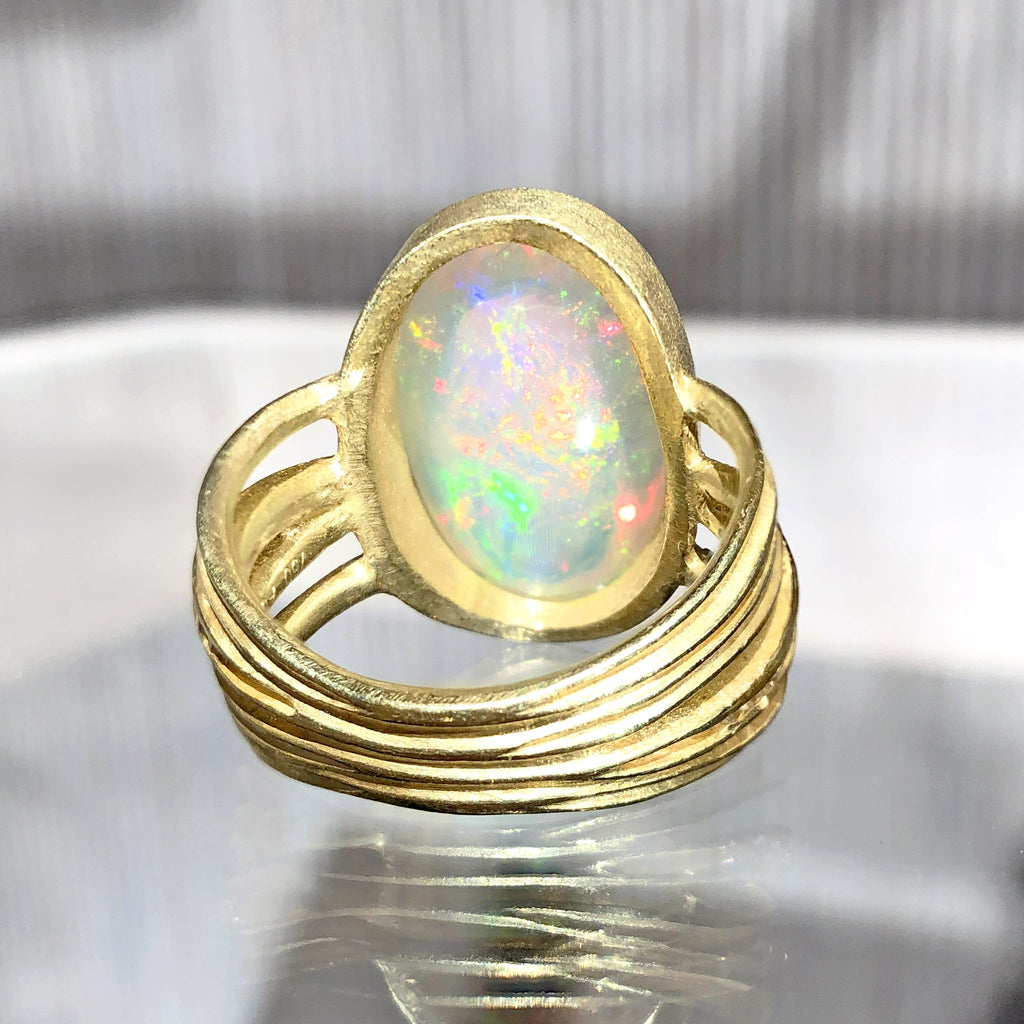 Barbara Heinrich Exceptional Ethiopian Opal White Diamond Multiwrap Band Ring - Szor Collections