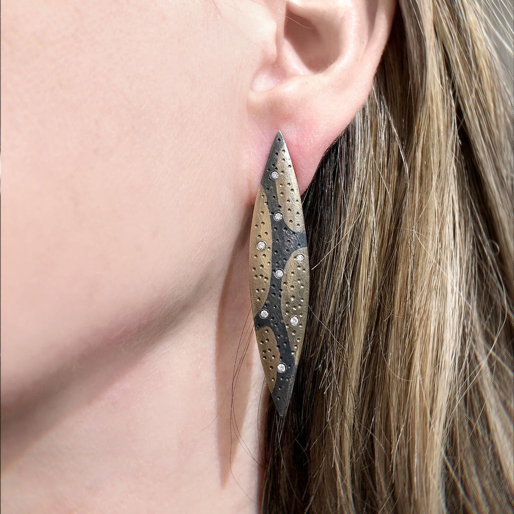 Pedro Boregaard White Diamond Camouflage Gold Oxidized Silver Earrings - Szor Collections