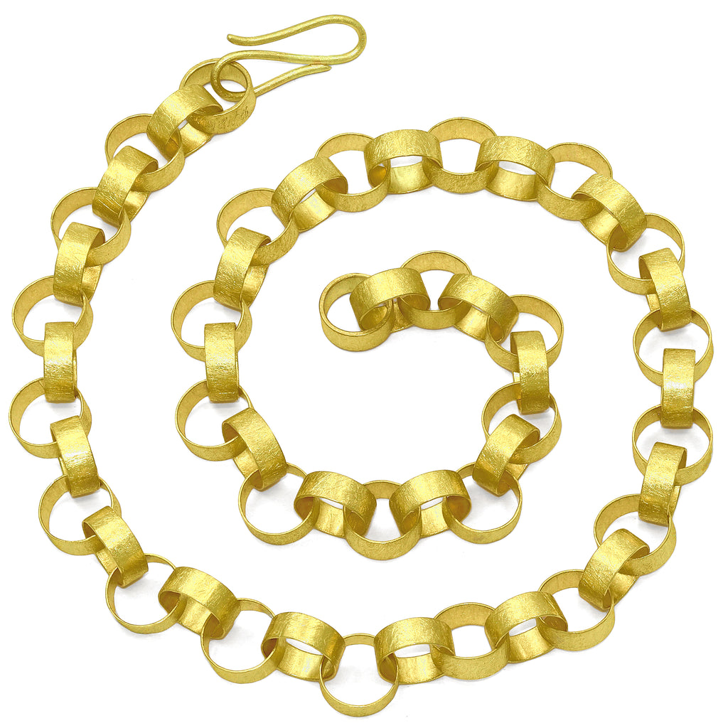 Petra Class Handmade 22k Gold Heavy Round Paper Chain Link Necklace - Szor Collections
