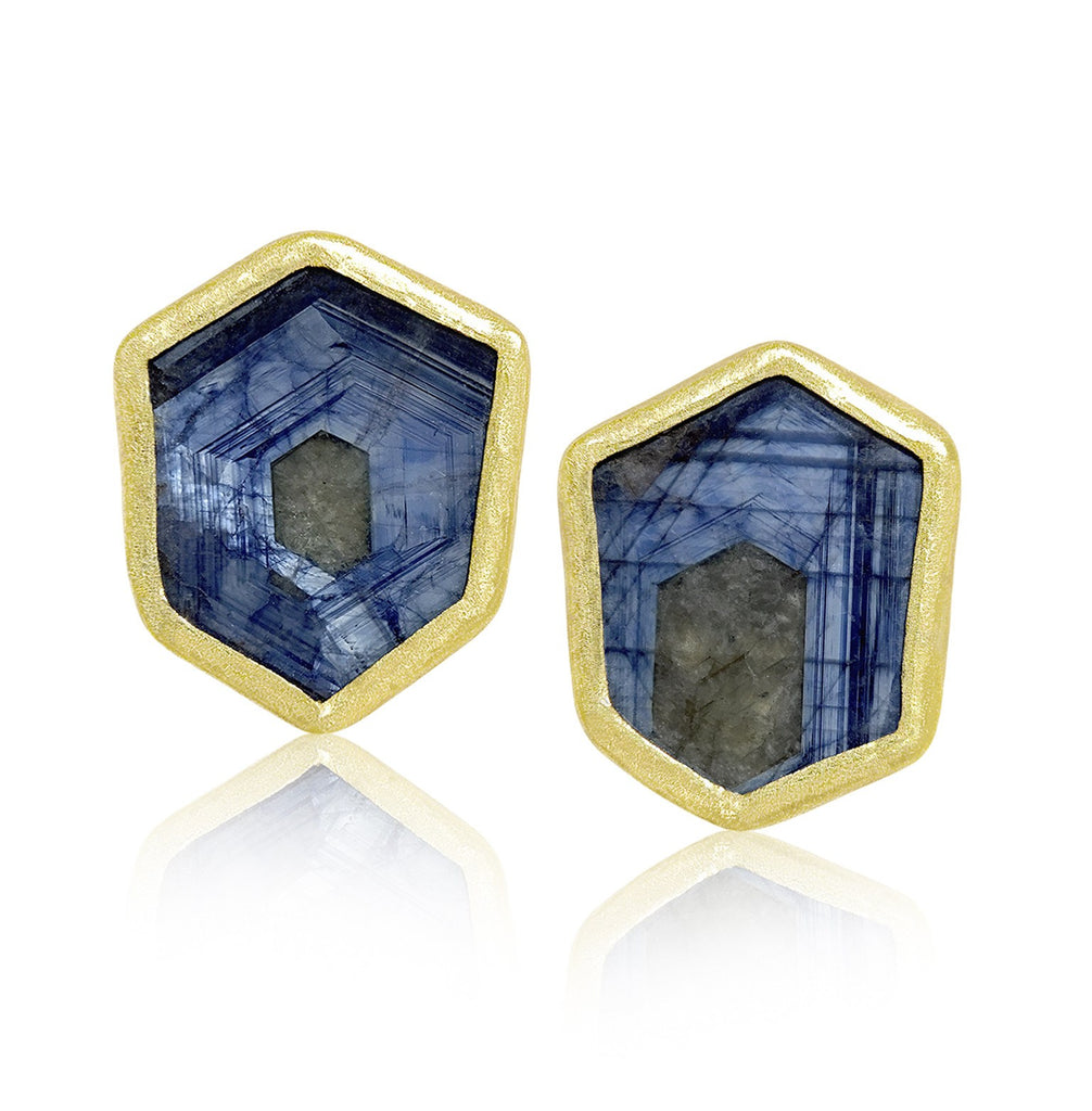 Petra Class One of a Kind Blue Sapphire Gold Hexagonal Stud Earrings - Szor Collections - 1