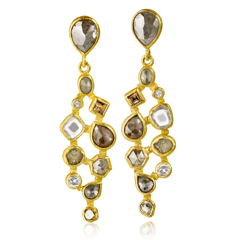 Petra Class Assorted Diamond Gold One of a Kind Mosaic Drop Earrings - Szor Collections