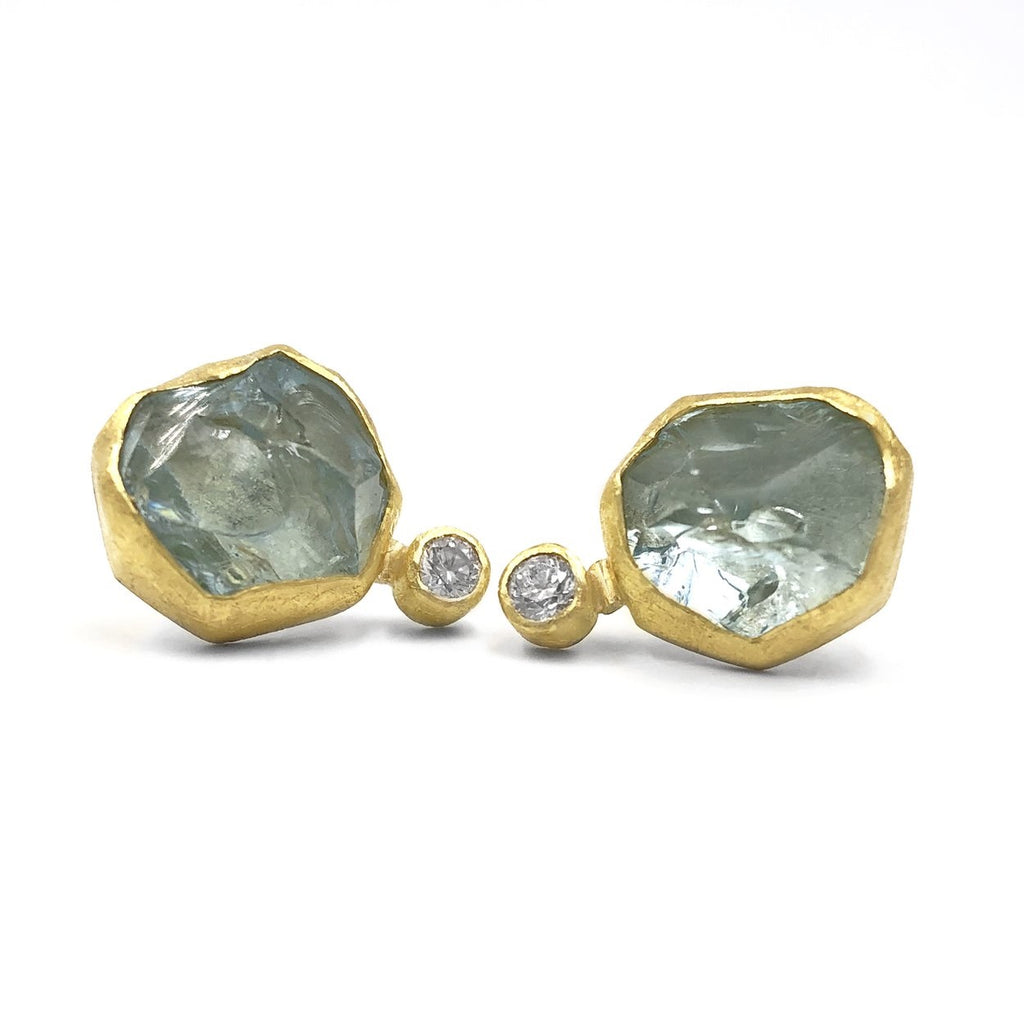 Petra Class Aquamarine Crystal White Diamond Handmade Double Stud Earrings - Szor Collections