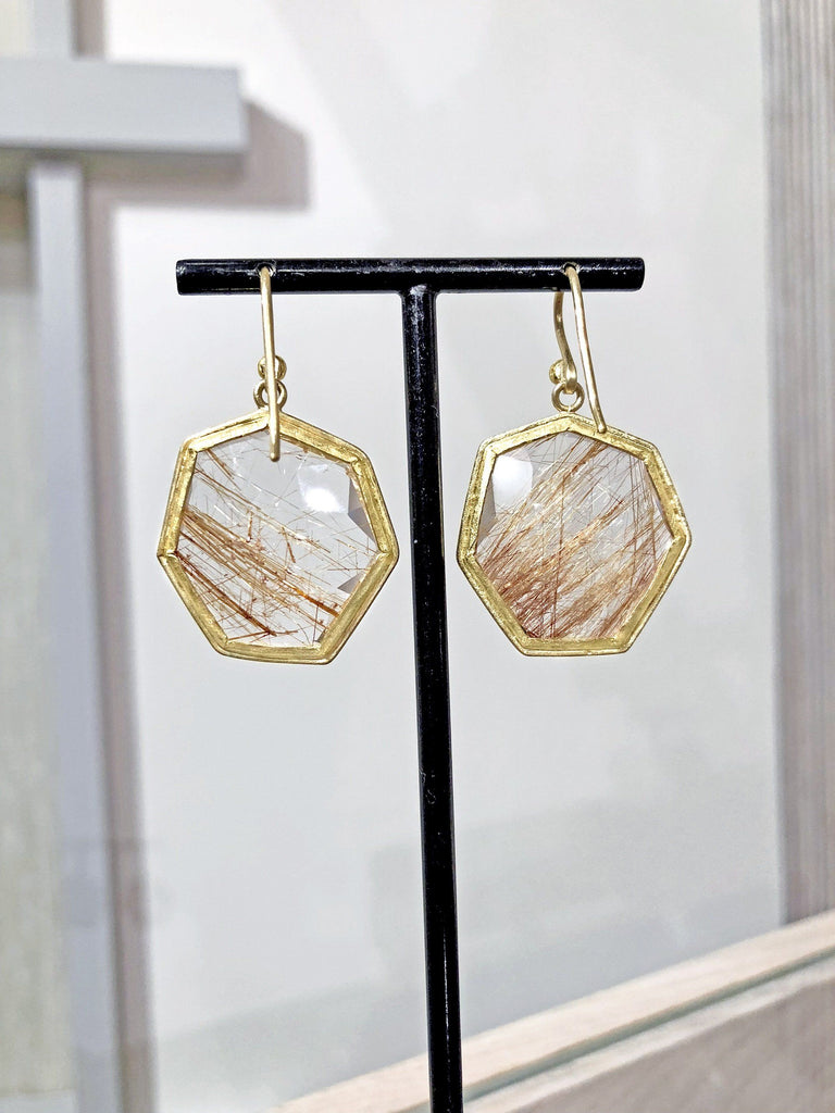 Petra Class One of a Kind Faceted Rutilated Quartz Heptagon Gold Drop Earrings - Szor Collections