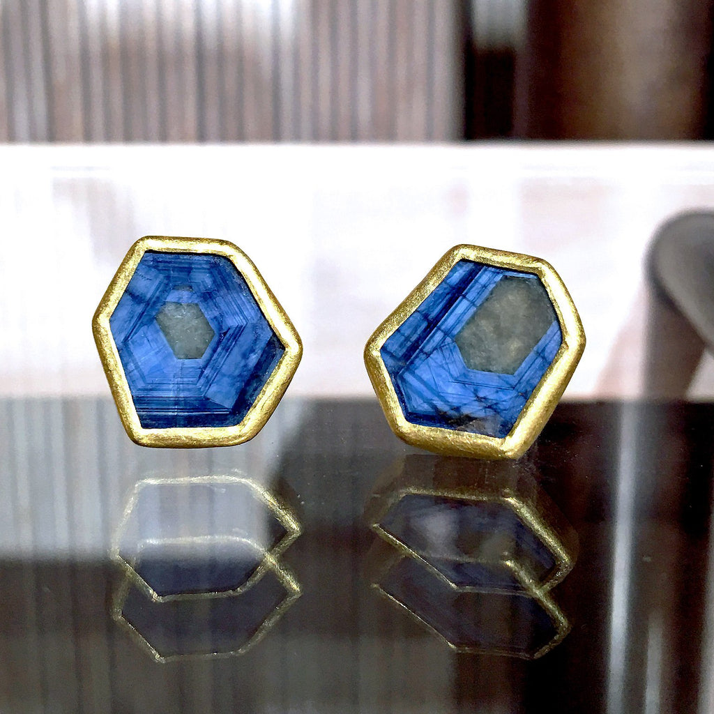 Petra Class One of a Kind Blue Sapphire Gold Hexagonal Stud Earrings - Szor Collections - 2