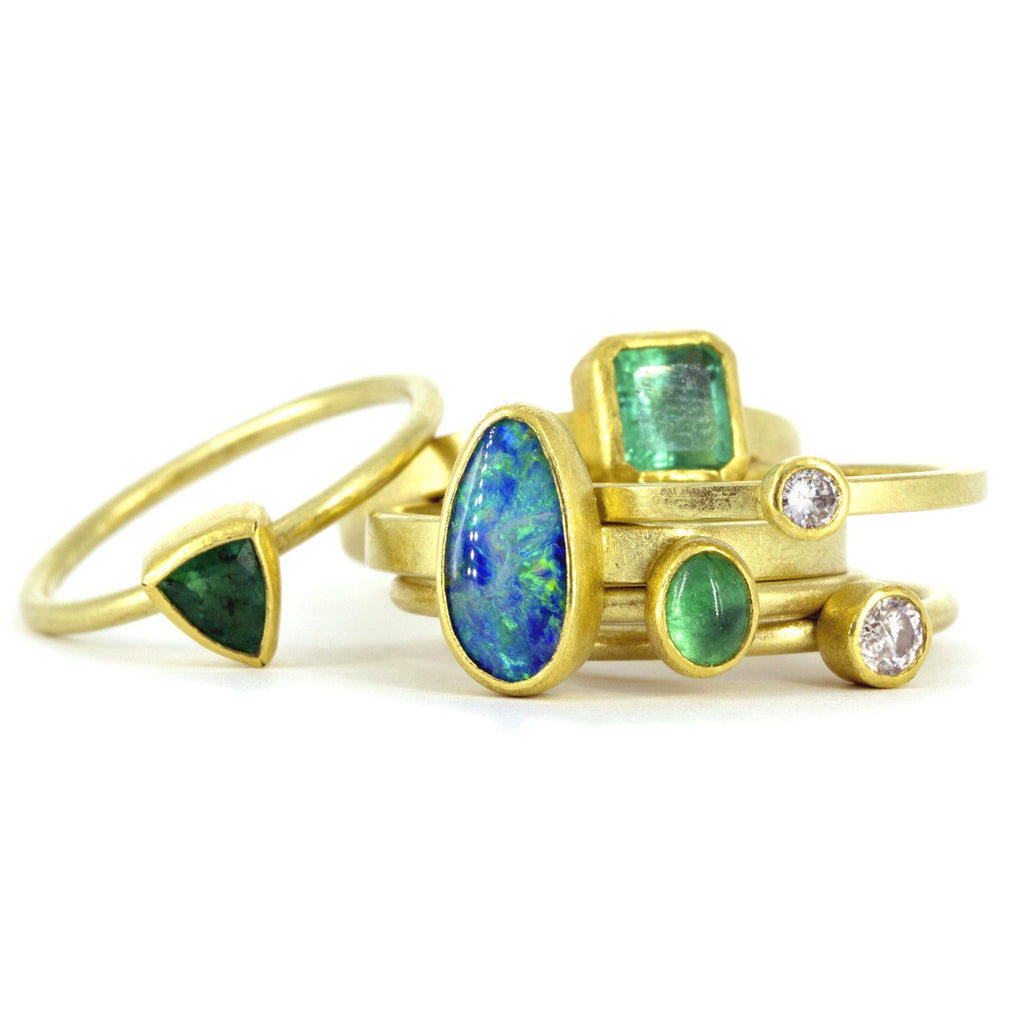 Petra Class Emerald Diamond Opal Stacking Rings (Special Order) - Szor Collections