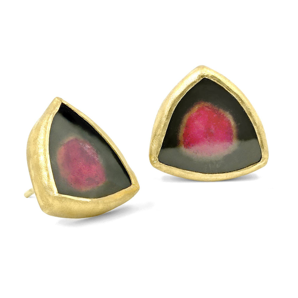 Petra Class One of a Kind Watermelon Tourmaline Stud Earrings - Szor Collections