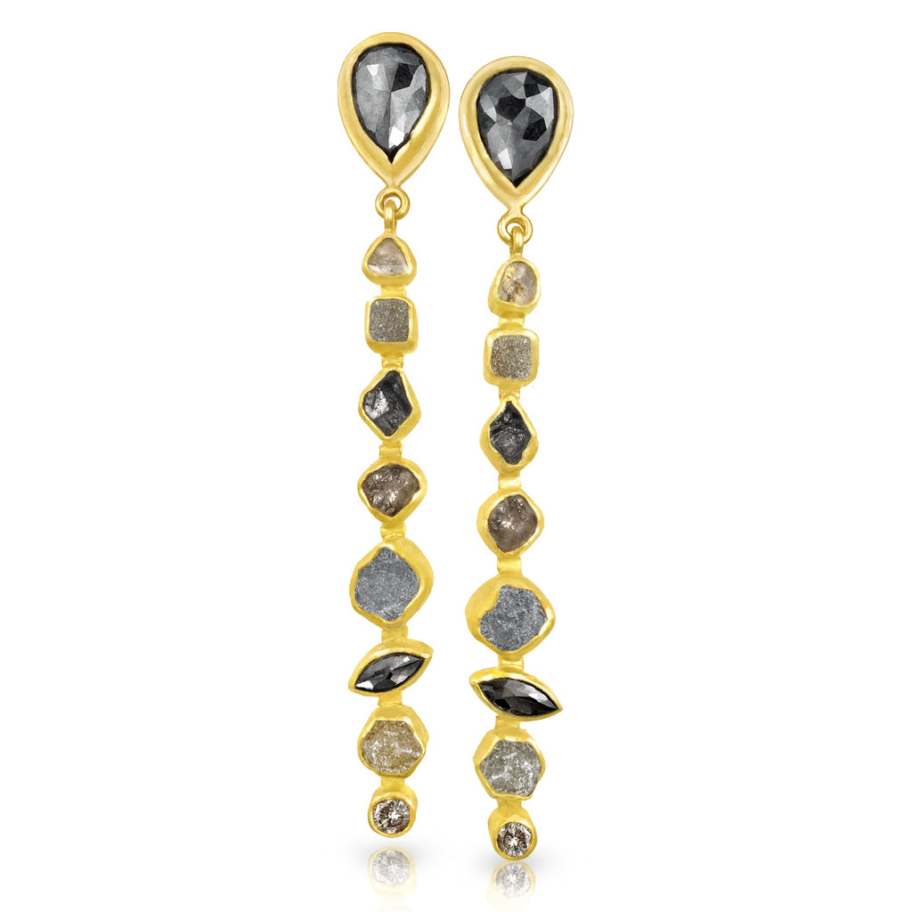 Petra Class 9.0 Carat Faceted and Rough Diamond Gold Linear Dangle Earrings - Szor Collections