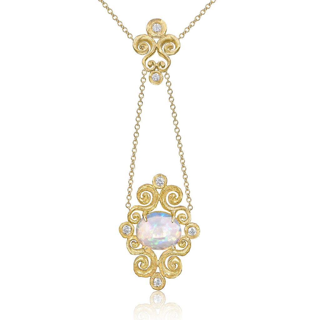 Pamela Froman Ethiopian Opal Diamond Gold Arabesque Drop Necklace - Szor Collections