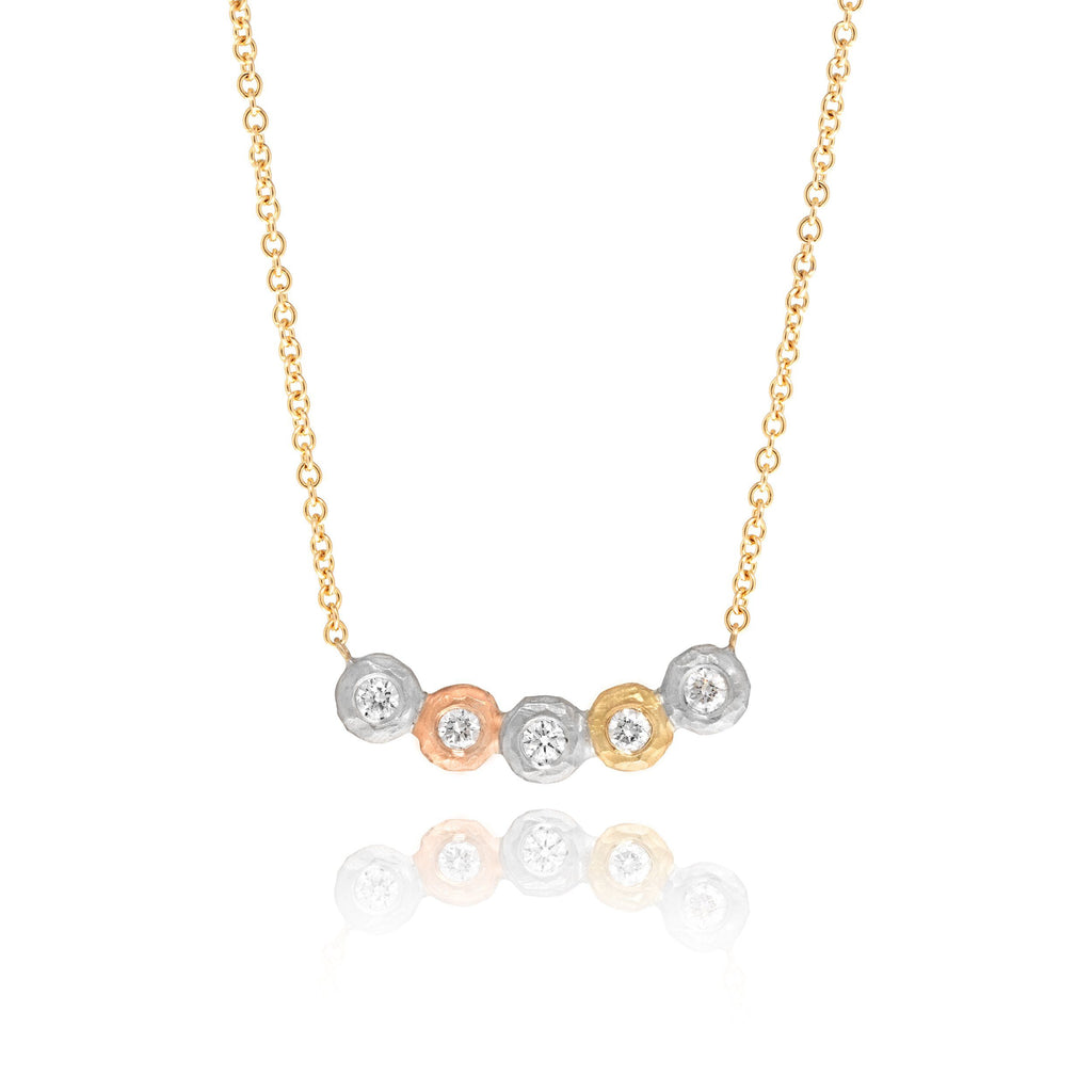 Pamela Froman Five Diamond Pink Yellow White Gold Necklace (Special Order) - Szor Collections
