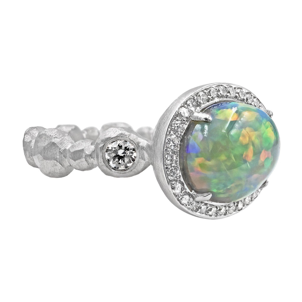 Pamela Froman Exceptional Lightning Ridge Black Opal Crystal White Diamond Ring - Szor Collections