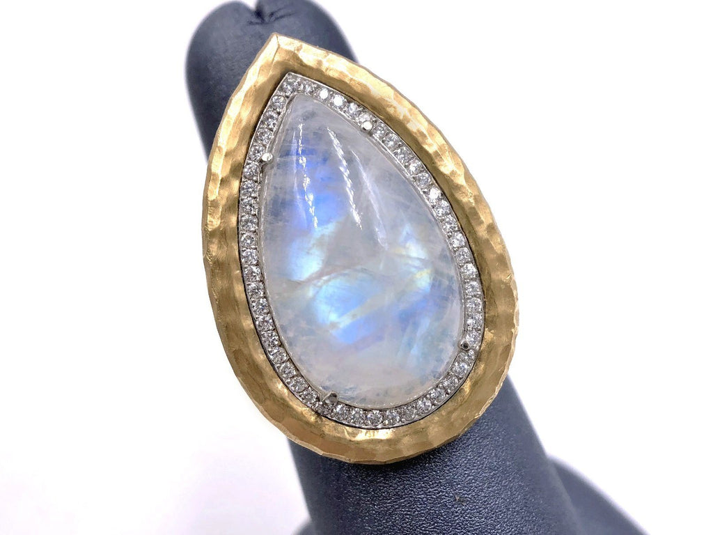 Pamela Froman Rainbow Moonstone White Diamond One of a Kind Empress Ring - Szor Collections