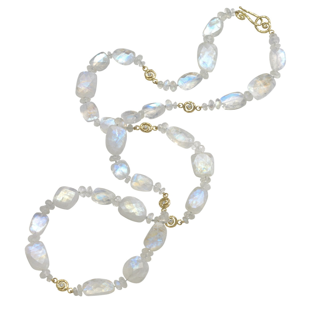 Pamela Froman Long Rainbow Moonstone Diamond Gold Scrolls Necklace - Szor Collections