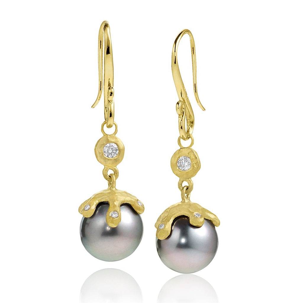 Pamela Froman Fine Tahitian Pearl White Diamond Gold Handmade Drip Cap Earrings - Szor Collections