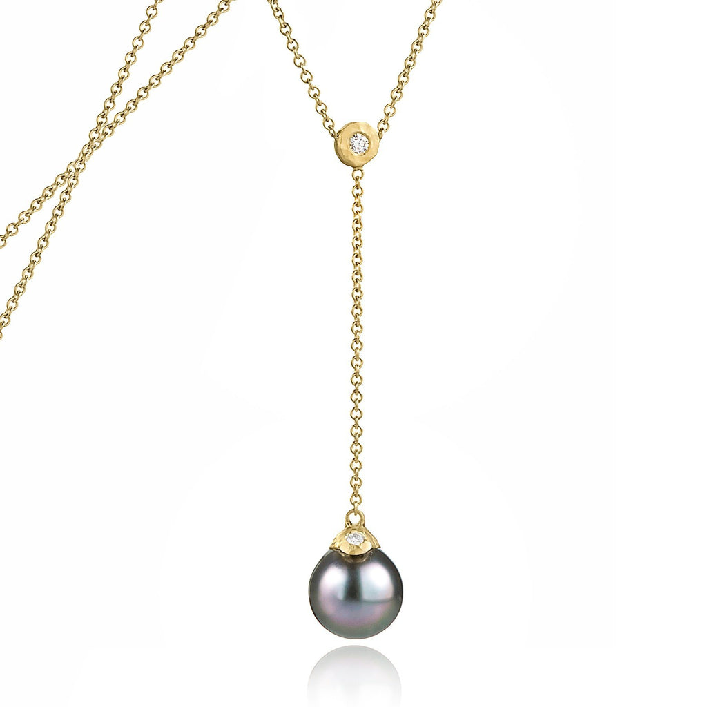 Pamela Froman Fine Tahitian Pearl White Diamond Gold Lariat Drop Necklace - Szor Collections