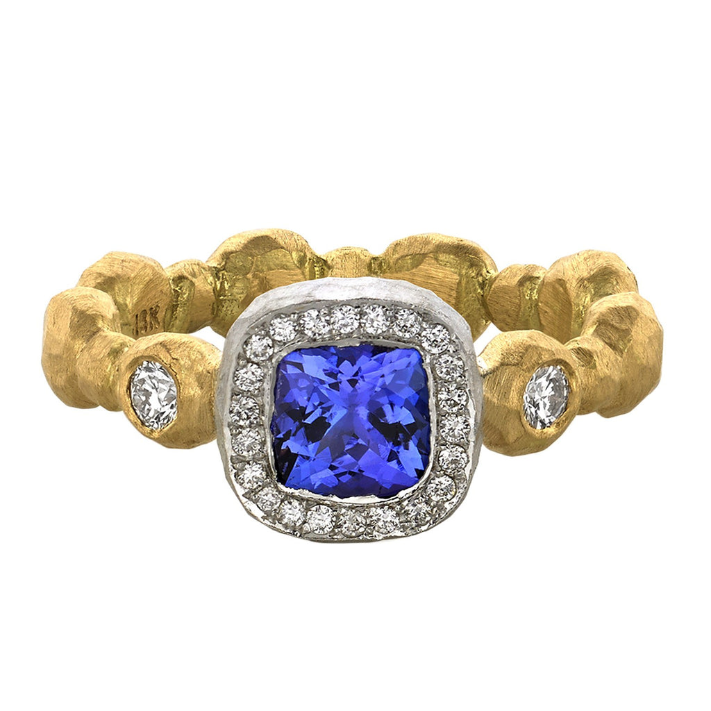 Pamela Froman Cushion-Cut Tanzanite Diamond Muilticolored Gold Ring - Szor Collections