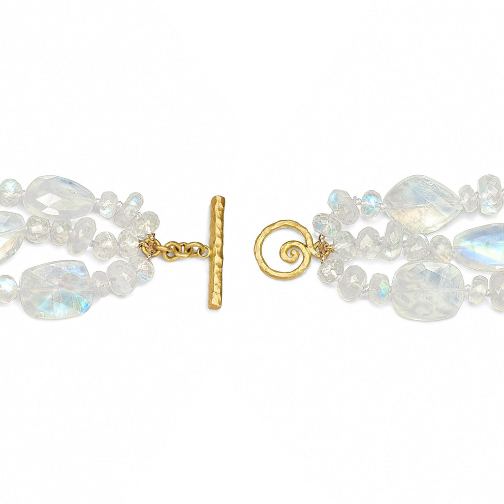 Pamela Froman Rainbow Moonstone White Diamond Gold Triple Scroll Bracelet - Szor Collections