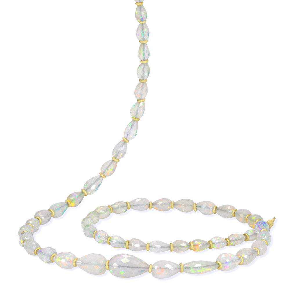 Petra Class Fiery Faceted Opal One-of-a-Kind Segments Necklace - Szor Collections