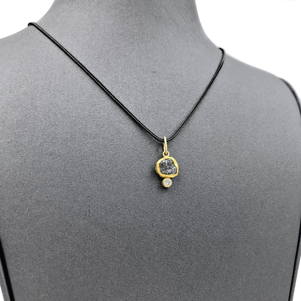 Petra Class Raw and Brilliant White Diamond Handmade Pendant Necklace - Szor Collections