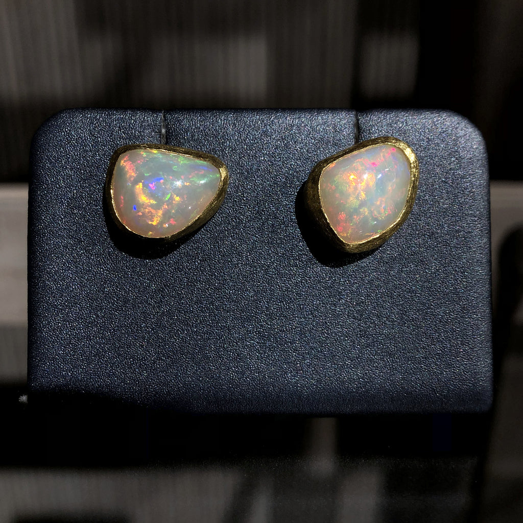 Petra Class Electrifying Pure White Opal Freeform Stud Earrings - Szor Collections